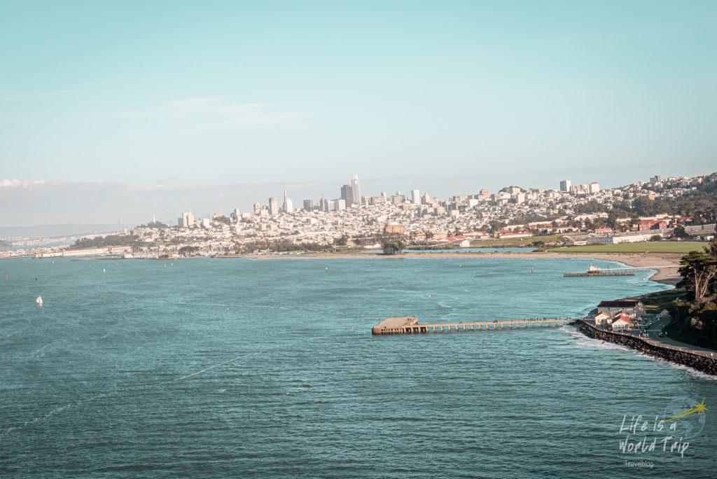 Blick auf San Francisco von der Golden Gate Bridge