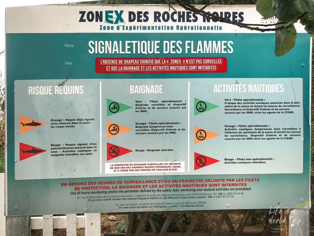 La Réunion - Bedeutung der Fahnen für Badeverbote wegen Haien